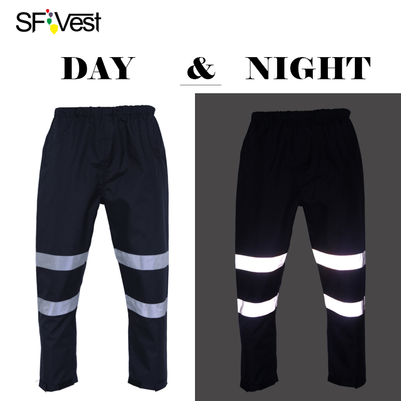 SFvest Mens navy blue waterproof workwear Winter warm trousers with reflective stripes f ...