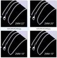Women 's 2 mm cadenas de acoplamiento 16 '' 18 '' 20 '' 22 '' 24 '' largo corto encantos aptos collares de plata esterlina 925 c015 bolsas del regalo envío