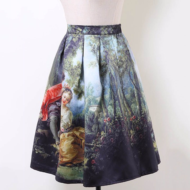 0aa9656dac017 Sisjuly Women Skirts Cartoon Print Skirts Short A-Line Elegant Pleated  Skirt Tutu Retro Female Casual Bottom 2019 Vintage Skirt
