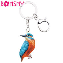 Bonsny Acrylic Alcedo Atthis Kingfisher Bird Key Chain Keychain Ring Cartoon Animal Gifts Jewelry For Women Girls Bag Car Charms(China)