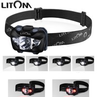 LITOM 168 Lumens White Red LED Headlamp Flashlight With Gesture Control Waterproof Helmet Light For Hiking