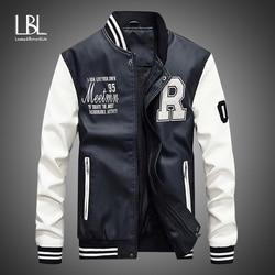 New Men Leather Jacket 2020 Brand Embroidery Baseball PU Jackets Male Casual Luxury Winter Warm Fleece Pilot Bomber Jacket Coat