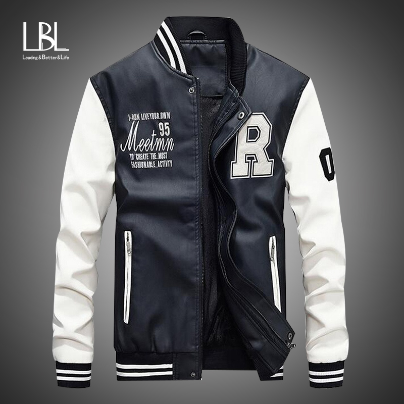 New Men Pu Faux Leather Jacket 2019 Brand Embroidery Baseball Jackets Male Casual Luxury Winter Warm Fleece Pilot Bomber Coat