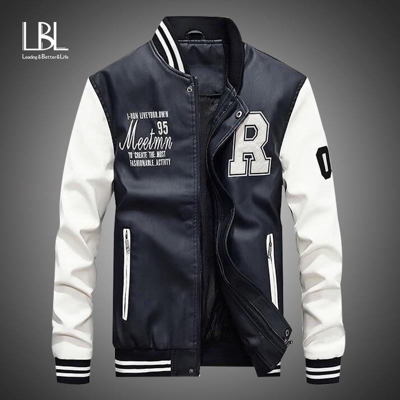 New Men Pu Faux Leather Jacket 2019 Brand Embroidery Baseball Jackets Male Casual Luxury Winter Warm Innrech Market.com