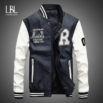 New Men Leather Jacket 2020 Brand Embroidery Baseball PU Jackets Male Casual Luxury Winter Warm Fleece Pilot Bomber Jacket Coat