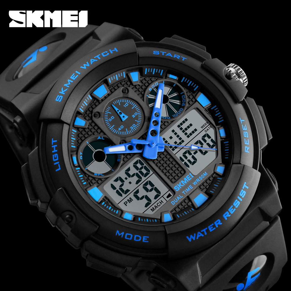 SKMEI Brand Men Watch Sport Analog Quartz Watch Man Wristwatch Dual Display BackLight Digital 12/24 Hour Relogio Masculino Clock skmei skmei big dial dual time display sport digital watch men chronograph analog led electronic wristwatch s shock clock