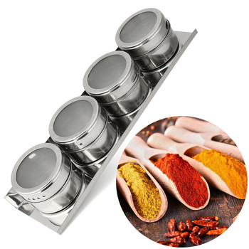 4PCS Stainless Steel Magnetic Spice Storage Jar Tins