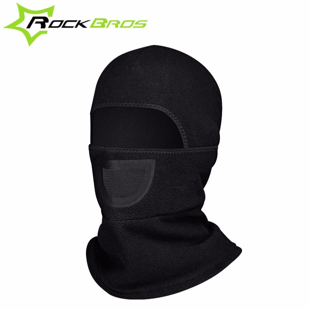 Full face mask neck warmer hood balaclava outdoor winter sports hats - Rockbros Bicycle Fleece Caps Cycling Headwear Neck Warmer For Head Bike Face Masks Hat Collar Scarf