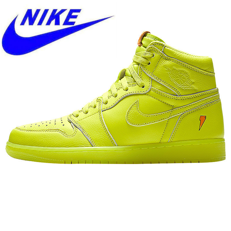f4f6d3c6b1fd Original Nike Air Jordan 1 Gatorade AJ1 Joe 1 Gatorade Lemon Yellow Men s  Shock Absorber Basketball Shoes Sneakers AJ5997 345