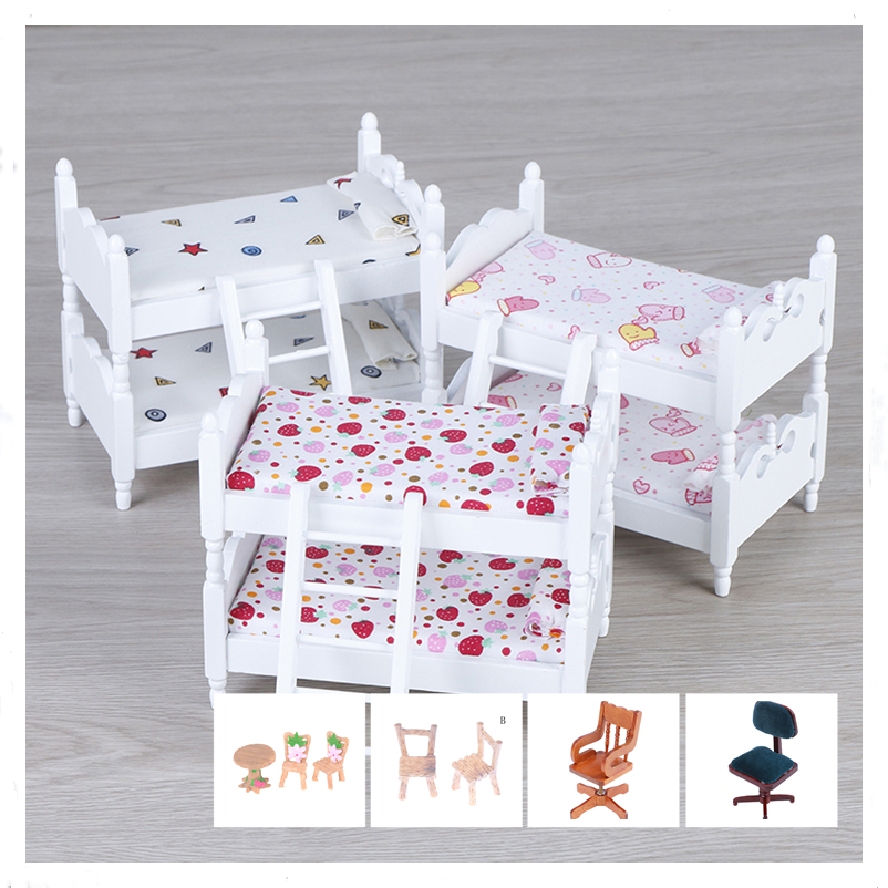 1/12 Mini Dollhouse Furniture Bed Set/Revolving Chair Miniature Living Room Kids Pretend Play Toy Miniature Furniture Miniature