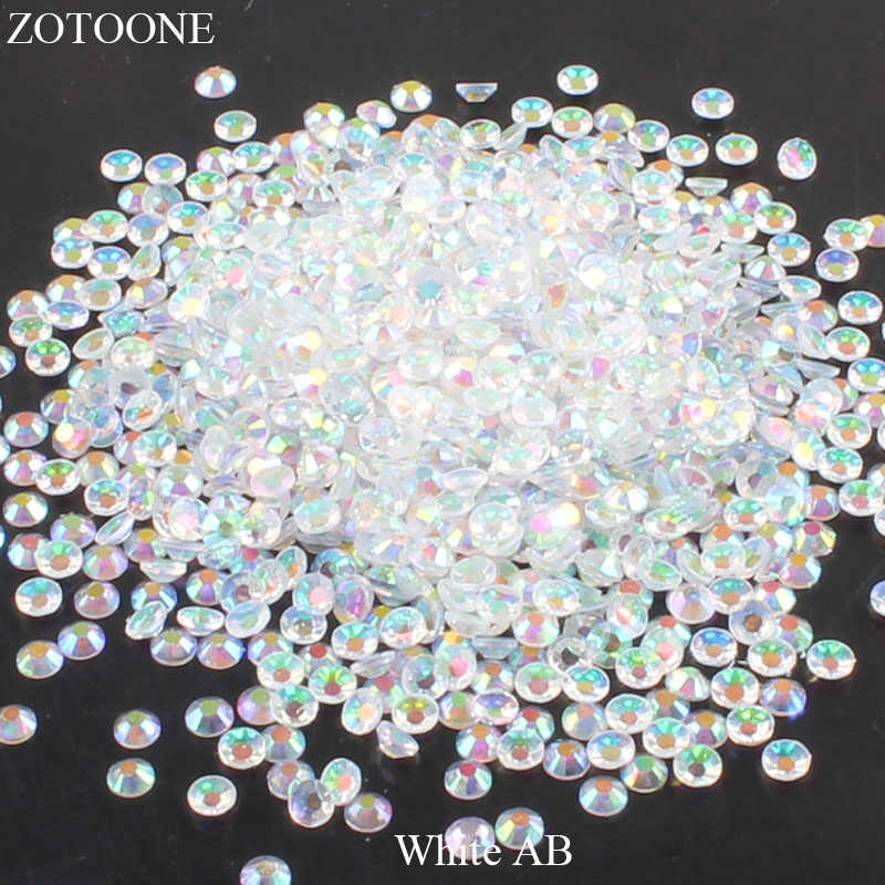 ZOTOONE White AB Resin Flat Back Crystal Nails Non Hotfix Rhinestone For Clothes Decoration Stones And Crystals Applique E