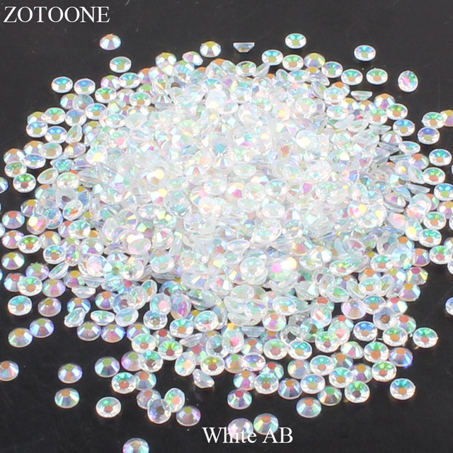 ZOTOONE White AB Resin Flat Back Crystal Nails Non Hotfix Rhinestone For Clothes  Decoration Stones And 5bfc00c72a0e