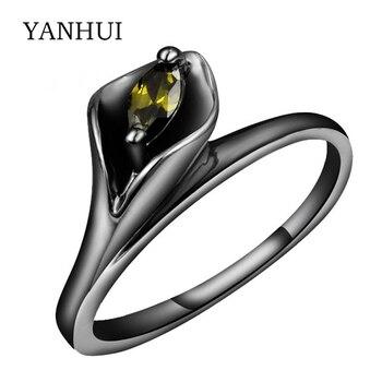 nuevo concepto 01653 48d80 YANHUI nueva moda hoja forma anillo negro oro Color verde Oval CZ circón  anillos para mujer señora negro anillos joyería áfrica HR604