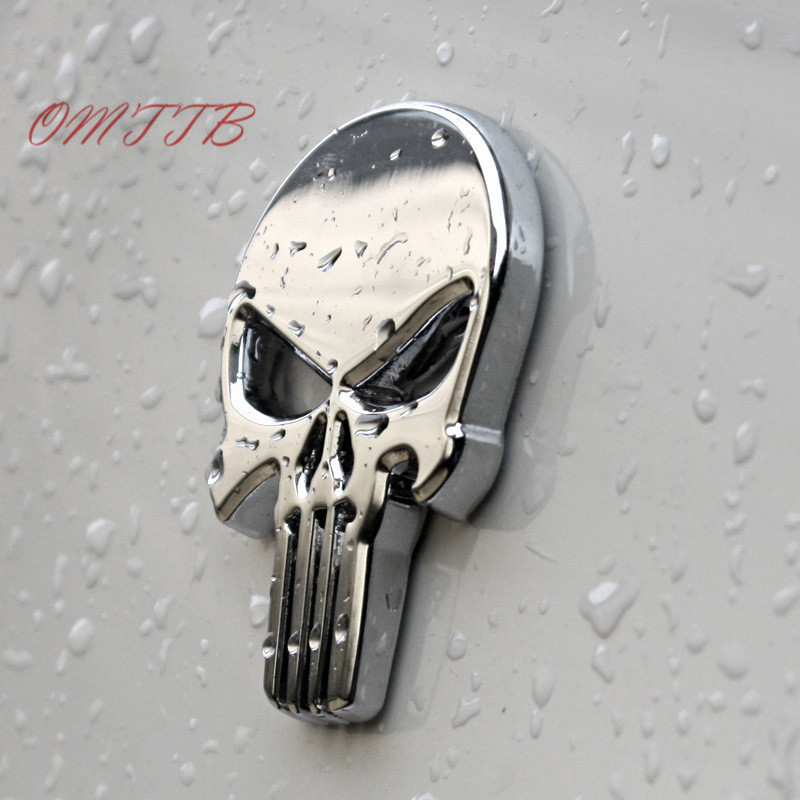 3D Metal The Punisher Skull Emblem Badge Car Stickers and Decals Auto Truck Motorcycle for bmw benz audi mazda kia Car Styling 1pcs 3d metal s5 car front grille adhesive emblem badge stickers accessories styling for audi a5 s5