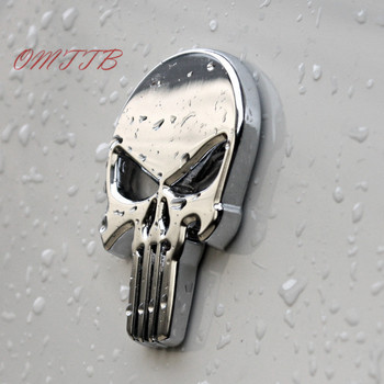 3D Metal The Punisher Skull Emblem Badge Car Stickers and Decals Auto Truck Motorcycle for bmw benz audi mazda kia Car Styling Мотоцикл