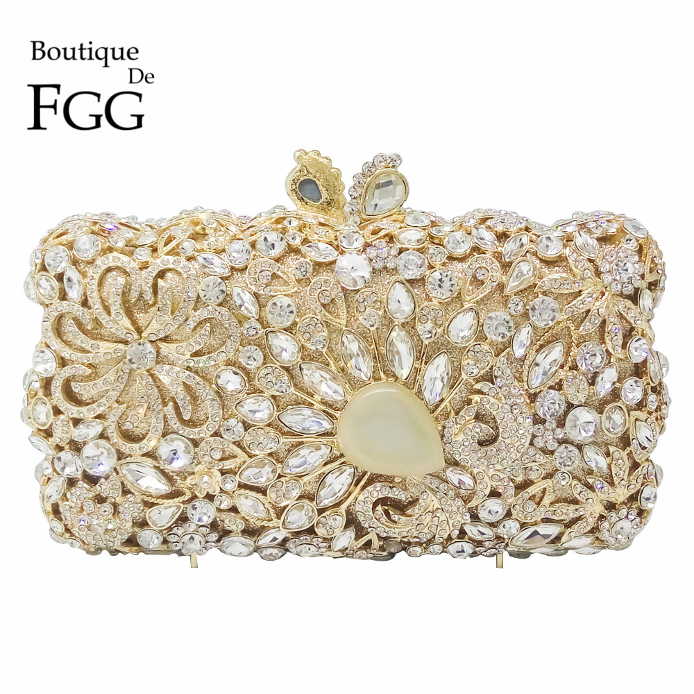 Giant Stone Clear Crystal Diamond Flower Evening Bags For Women Hollow Out Rhinestones Wedding Gold Clutch Purses Bridal Handbag