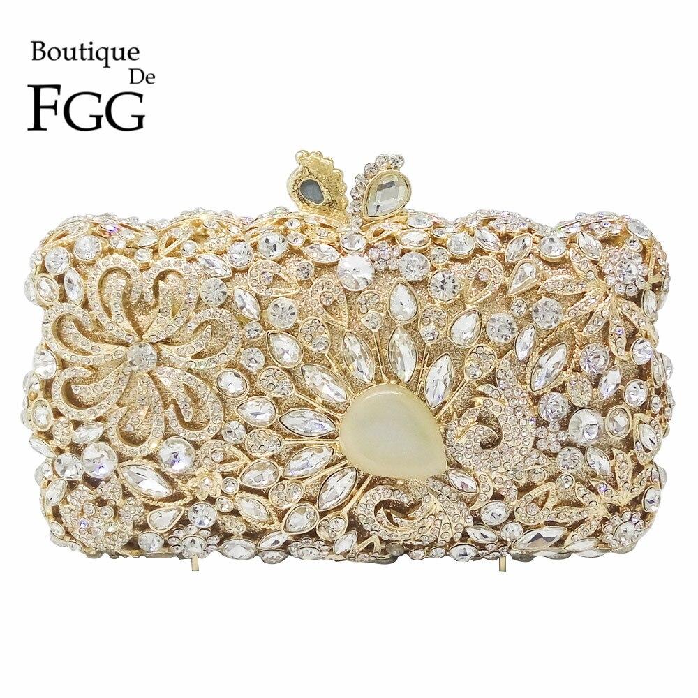 Gigante de Piedra Claro Flor de Cristal de Diamante Bolsos de Tarde Para Las Muj