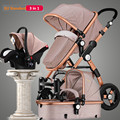 RU Free! 3 in 1 baby stroller aluminium alloy frame folding strollers europe baby pram light umbrella baby car 2 in 1