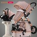 RU Livre! 3 em 1 carrinho de bebê da liga de alumínio quadro dobrável carrinhos europa bebê carrinho de bebê luz guarda-chuva carro do bebê 2 em 1