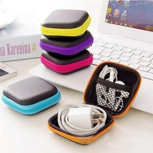 Image 4 - Mini Zipper Disco Headphone Caso PU Couro Caixa de Fones De Ouvido Fone de Ouvido Cabo USB Organizador De Armazenamento Saco de Proteção Portátil Saco