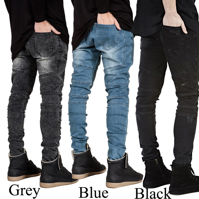 Men Jeans Runway Slim Racer Biker Jeans Fashion Hiphop Skinny Jeans For Men H0292 2
