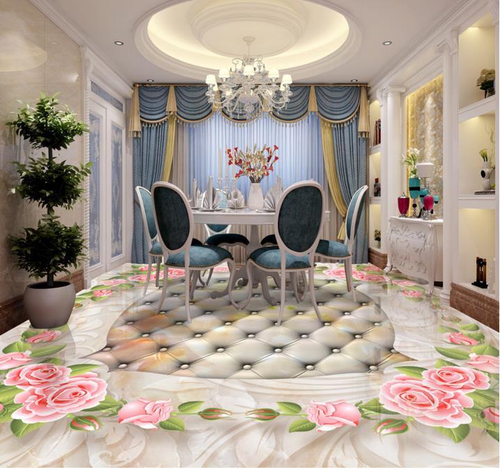 ФОТО vinyl wallpaper customized European marble tile floor tiles roses 3D pvc self-adhesive wallpaper 3d floor