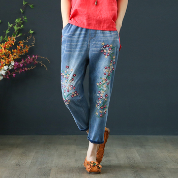 Vintage Floral Embroidered Jeans 2020 New Spring Summer Harem Women Casual Mid Waist Denim Pants Plus Size 3XL