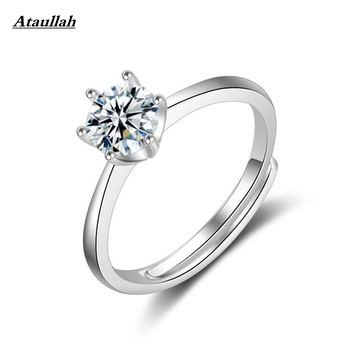 Ataullah High Quality Elegant 1CT silver color Large CZ Zircon Stone Rings Prong Bridal Wedding Ring Women Wholesale RWD7-127 image