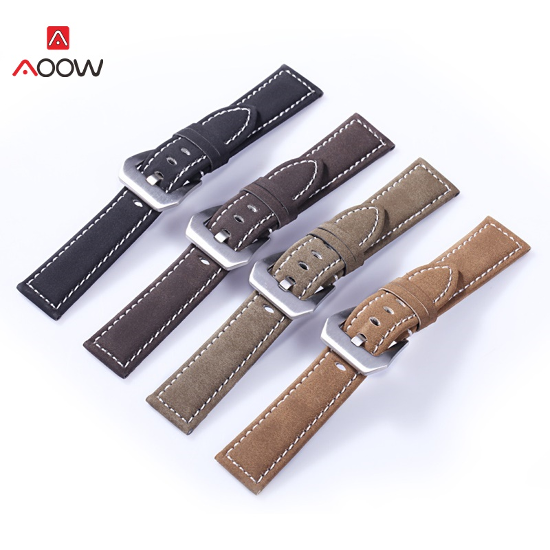 AOOW Handmade Matte Leather Watch Strap For Men Women 18mm 20mm 22mm 24mm Stainless Steel Buckle Belts Watchband High Quality
