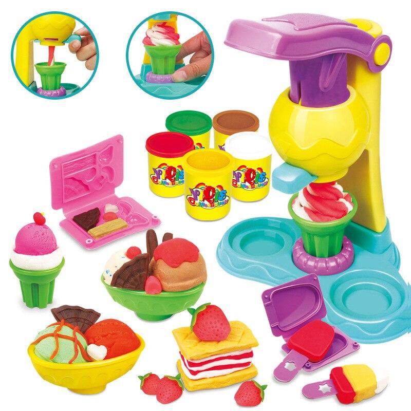 Slime couleur boue enfants Puzzle bricolage pâte à modeler moule ensemble Machine à crème glacée crème glacée argile Super légère jouets pour enfants cadeau pour enfant