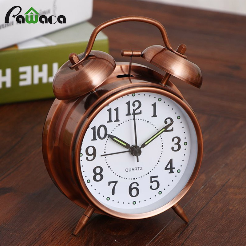 Creative Retro Alarm Clock Twin Bell Alarm Clock With Stereoscopic Dial Backlight Desk Clock Loud Alarm Clock Gift