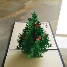 цена на Red 3D Merry Christmas Tree 3D laser cut pop up paper bulk handmade postcards custom Xmas greeting cards Gifts display