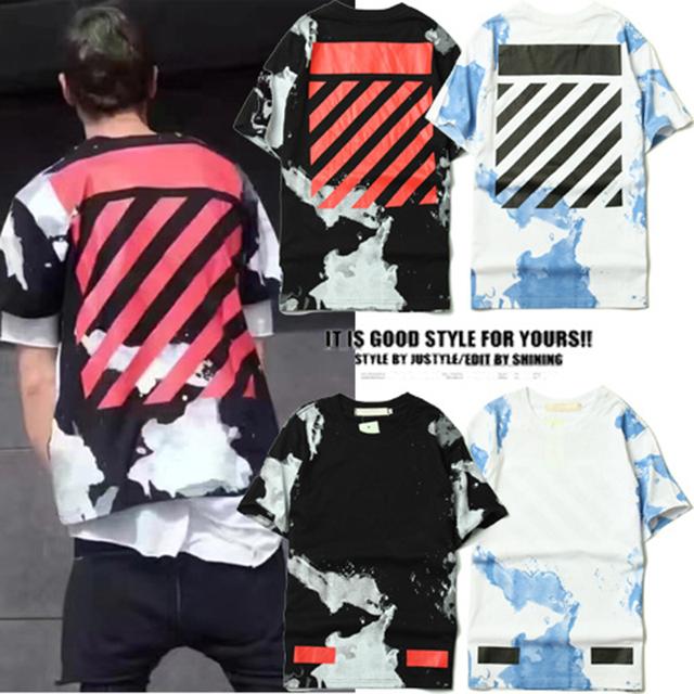 Mens T-shirts Moda 2017 Off White T-shirts Homens Hip Hop algodão O-pescoço Manga Curta Verão Tie-dye Kanye West Off White T-shirt