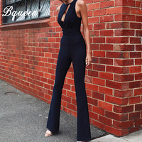 Bqueen 2019 New Women Sexy Solid Backless Jumpsuit Hollow Out Deep O Neck Skinny Jumpsuit Full Length Sexy Rompers