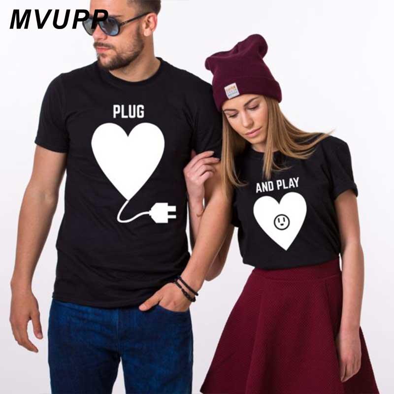 Men Women Couples Love Heart Plug & Play Printed T-Shirt