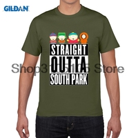 GILDAN designer t shirt Straight Outta South Park Tshirt Men Casual Summer Print man's Tops Crew Neck Short Sleeve Tee Shirt