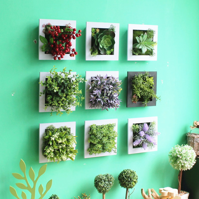New Design 3D Metope Succulent Plants Imitation Plastic Photo Frame Wall Decoration Artificial Flowers Home Decor