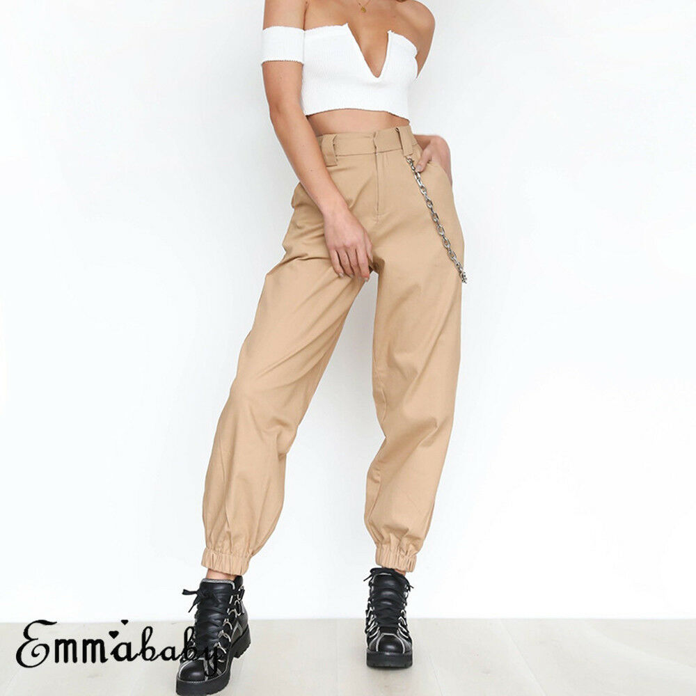 New Women's Cargo Trousers Pants Solid Punk Loose Long Soft Pants With Chain Ladies Casual Pant