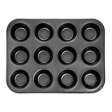 Hot Sale Heavy duty carbon steel cupcake baking tray,12 mini cup shaped cake pan,nonstick tray,