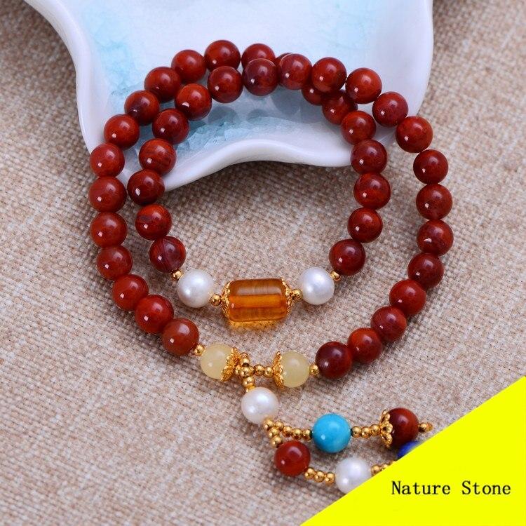 Fashion Red Southern & Amber Bracelet Women Gift Jewelry Dual String Bracelet NH025 fashion 5mm red southern bracelet women gift jewelry three several string long bracelet nh012