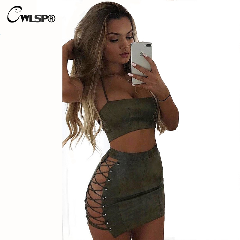 CWLSP Autumn Summer Sexy Suede Dress Women Hollow Out Lace Up Skinny Clubwear Vestidos Halter Tops