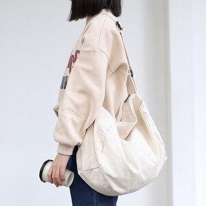 Image 1 - נשים בד כתף תיק מזדמן כותנה בד Crossbody שקיות מוצק רוכסן תיק קניות תיק תיק אקו פשוט ספר שקיות