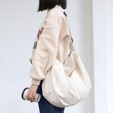 Women Canvas Shoulder Bag Casual Cotton Cloth Crossbody Bags Solid Zipper Handbag Shopping Bag Tote Student Eco Simple Book Bags