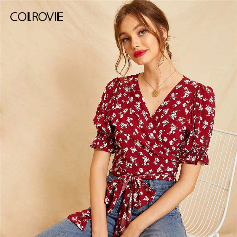 COLROVIE Burgundy V Neck Ditsy Floral Tie Wrap Boho Blouse Shirt Women Crop Top 2019 Summer Puff Sleeve Holiday Ladies Shirts