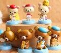 7 Pçs/set Rilakkuma Teddy Bear Mini PVC Action Figure Modelo Toy Dolls Meninas Presente