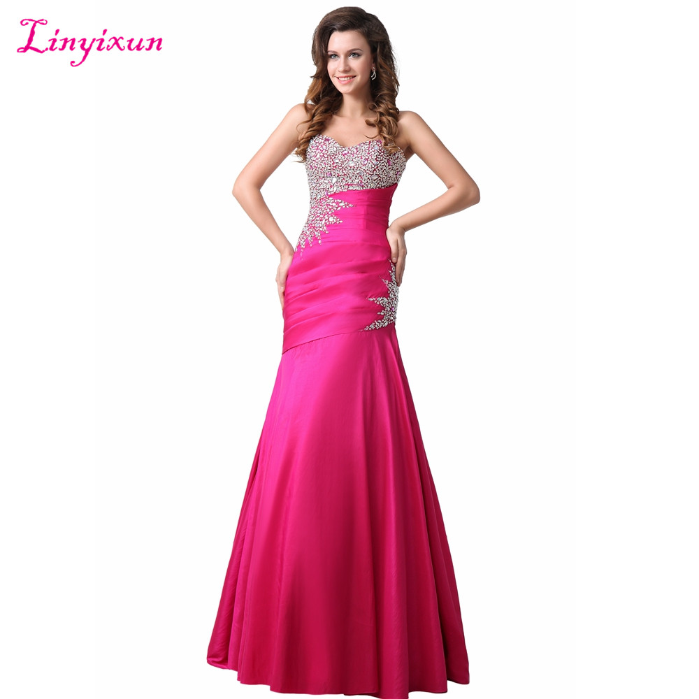 Linyixun Photo réelle Sexy chérie sirène robes de soirée longue Satin de luxe Bedaed cristal robe de soirée longues robes de bal
