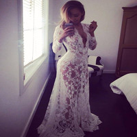 Indian Dress Sari New 2017 Fashion Sales In Europe And America Sexy Deep V Neck Long Sleeve Lace Dress Tight Tail Perspective