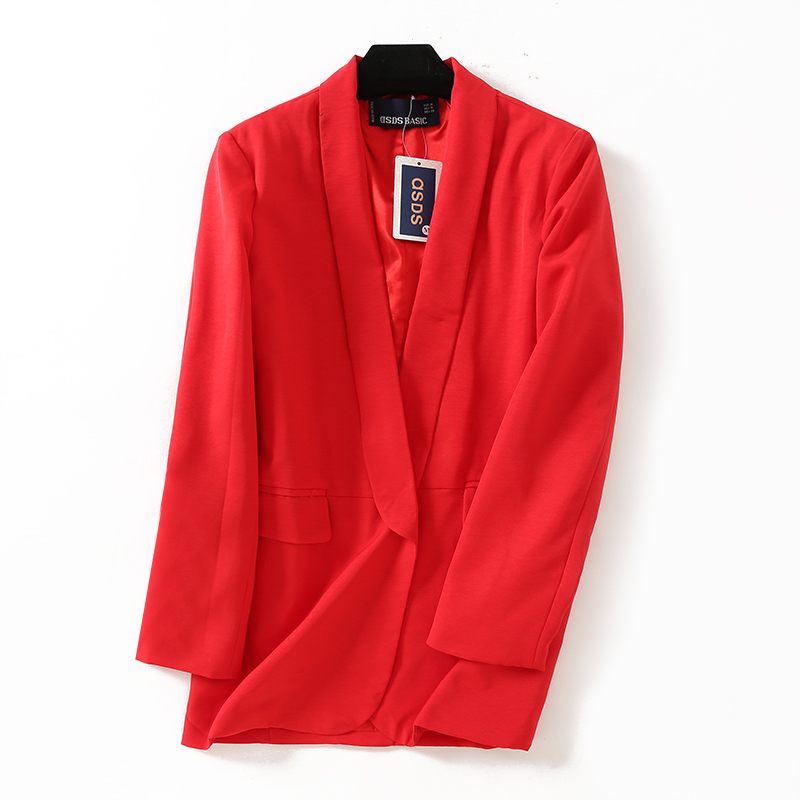 2018 Women Casual Blazers Office Lady Coat Red Black White 3color SML No Button Shawl Collar Pocket TR Poly Viscose Drop Ship