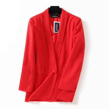 2018 women casual blazers office lady coat Red black white 3color SML no button Shawl collar Pocket TR poly viscose drop ship - DISCOUNT ITEM  23% OFF All Category