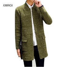 Men sweater casual cardigans thicken sweaters male knitted long jacket C69
